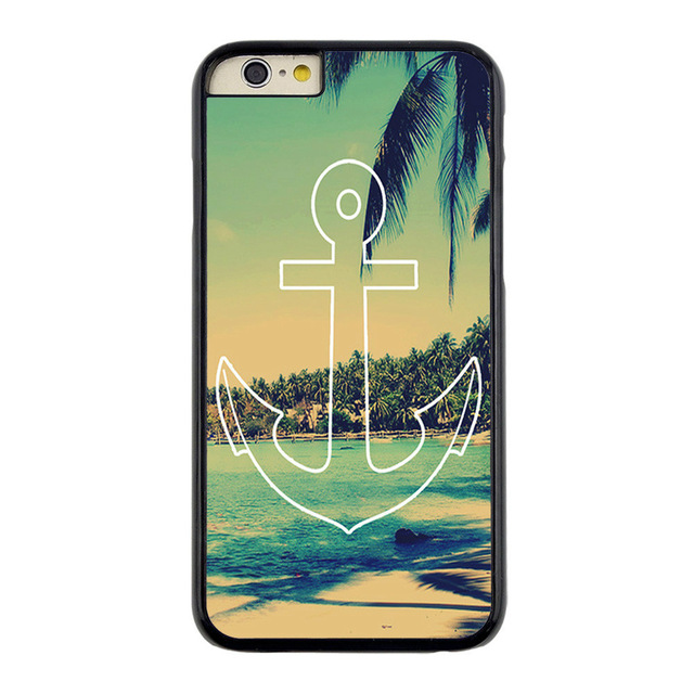 Vintage Summer Anchor Green custom design hard plastic mobile cell phone bags case cover for iphone 4 4s 5 5s 5c 6 plus(China (Mainland))