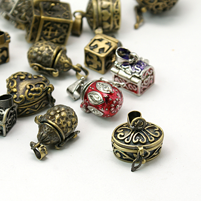Promotion 20pcs Brass Prayer Box Charms Pendants Mixed Shape and Mixed Color Retro Jewelry case Tibetan Style Pendant For DIY(China (Mainland))