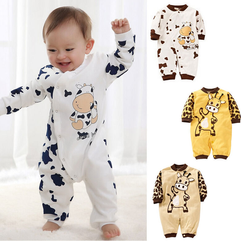 cute cow newborn girls boys clothes baby outfit infant rompe