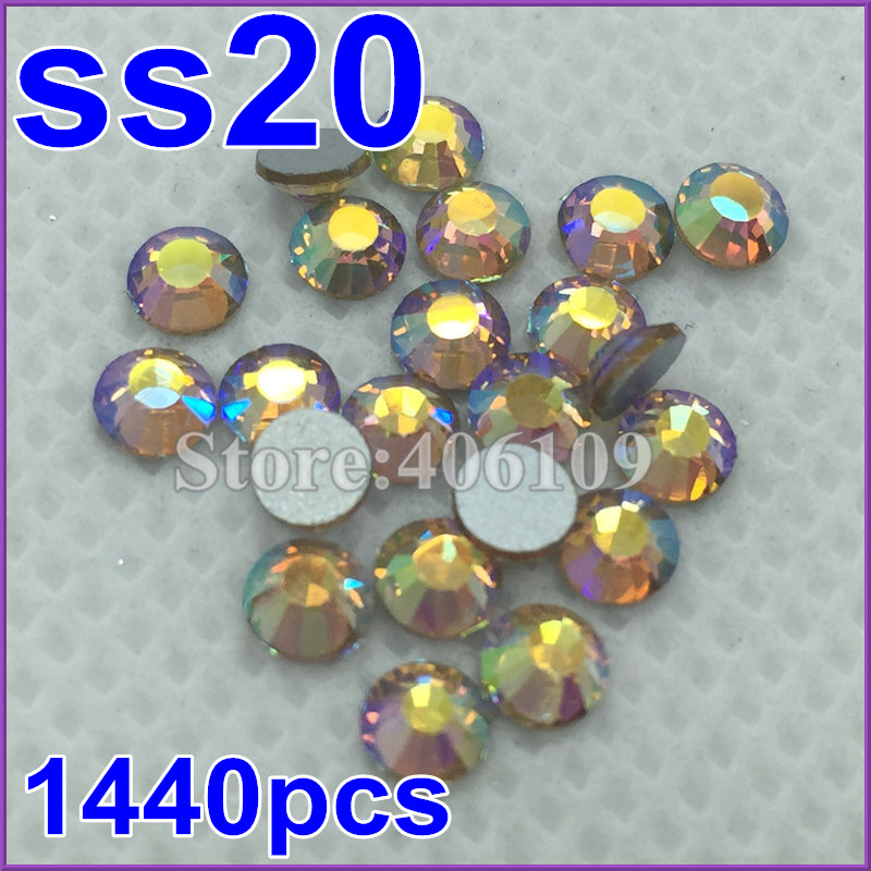 hot deals discount new SS20 1440pcs Lt C Topaz AB silver plated Flat Back Non Hotfix sticker glue on rhinestone(China (Mainland))