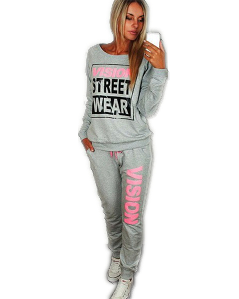 2015 New PiNK Vision Street Wear Print Women's Tracksuits O-Neck Sport Suit Set Jogging Suits For Women