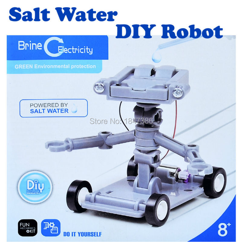 Salt Water robot kit Self assembled Blocks green environmental protection Science Model kit Educational Robot Toys for kids(China (Mainland))