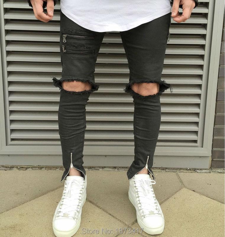 Newest Men Hip Hop Zipper Ripped Biker Jeans Fashion Slim Fit Motorcycle Jeans Men Distressed Biker Denim Jeans