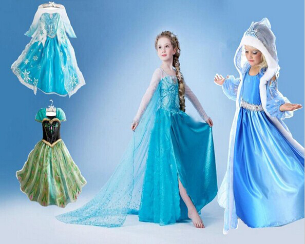 Retail .Within three days of delivery, top grade 2014 Frozen Elsa Anna costume princess dress sequined costume girls dresses(China (Mainland))