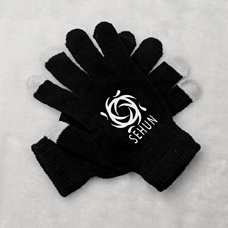 2016 new exo kpop Zodiac Same black Phone Touch screen knitting gloves k-pop exo korean unisex winter Warm Points finger gloves(China (Mainland))