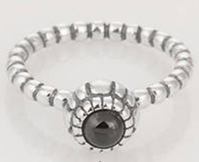 Lowest Price genuine 925 sterling silver Birthday Bloom Stackable Ring with Black Quartz Jewelry(China (Mainland))