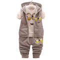 Autumn Toddler Despicable Me Minions Clothing Set For Kids Boy Hooded Waistcoat Cartoon T Shirt Top