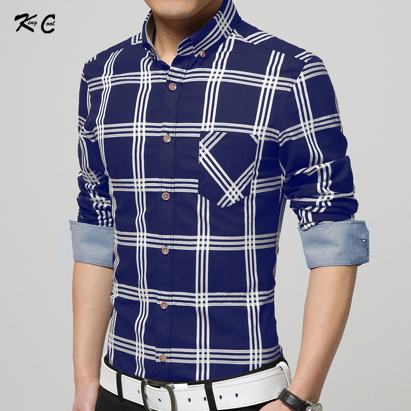 2016 KingCool Brand Logo 100% Cotton Men Shirt Three Line Plaid Print England Style Summer Young Dress For Business With Pocket(China (Mainland))