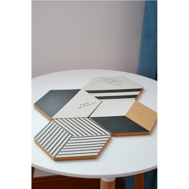 4pcs/set Modern Nordic Black White Geometric Artistic Cork Coaster Coffee Cup Mat Table Kitchen Gadget Home Deco Gift Photo Prop(China (Mainland))