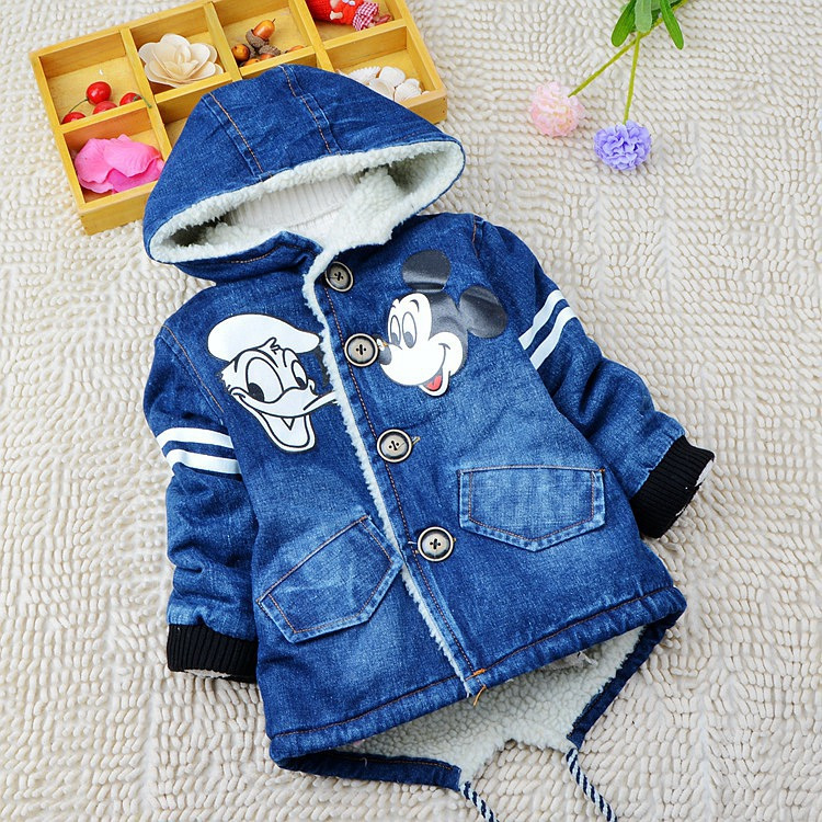 Children thick warm outerwear Jeans jacket casual coat Fashion baby boys Cartoon coat Kids Minnie Mouse clothes(China (Mainland))