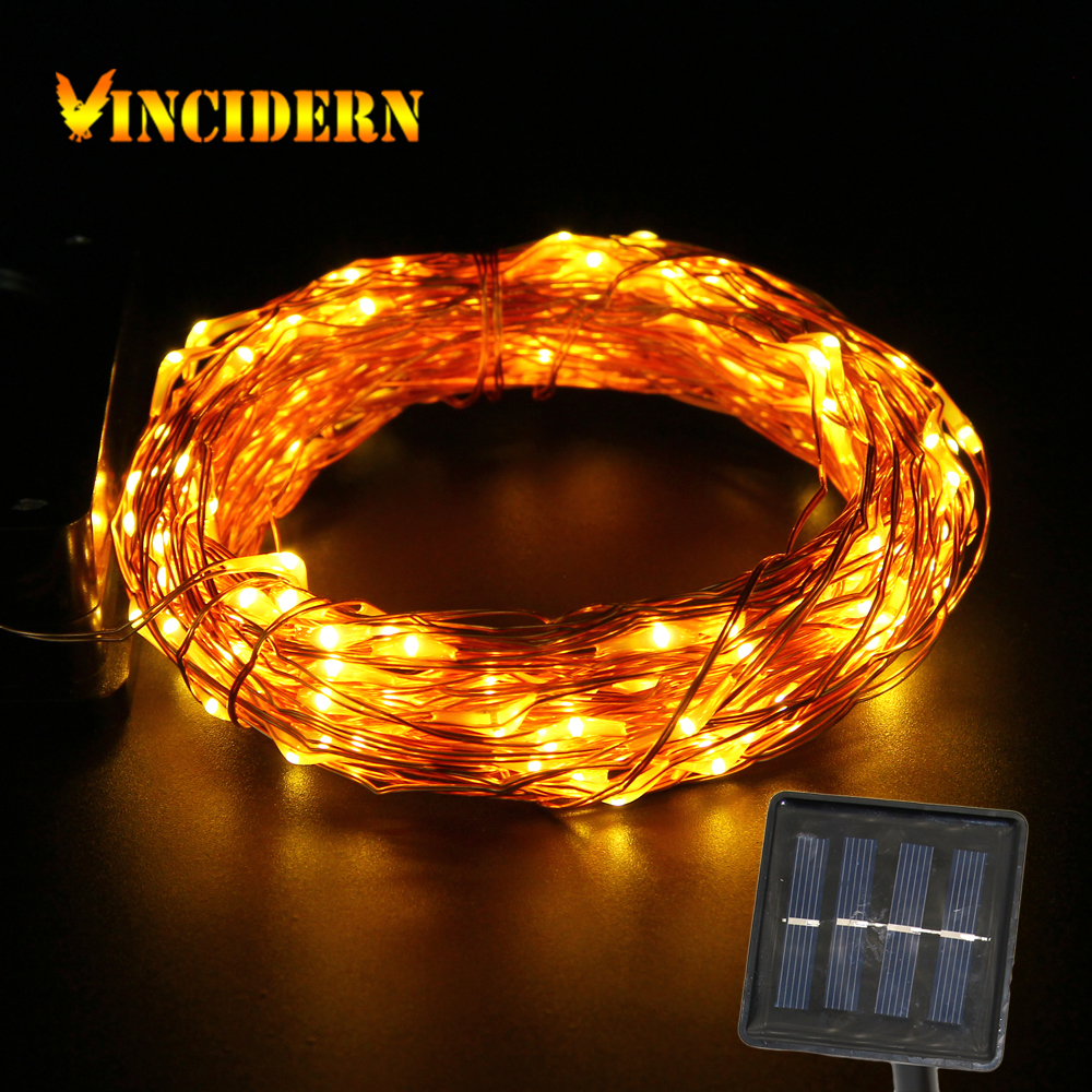 Solar copper wire String Light 50ft 150 LED outdoor waterproof Fairy Patio lamp for Garden Wedding Christmas party decoration(China (Mainland))