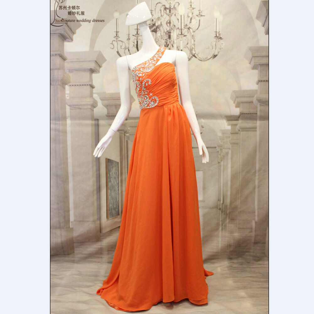 Long Chiffon Coral Colored Bridesmaid Dresses Elegant