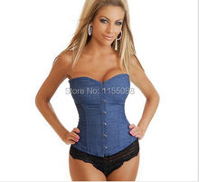 Jeans Corselet Plus Size Women Clothing Sexy Blue Denim Corset With Lace Thong Corset Tops To Wear Out