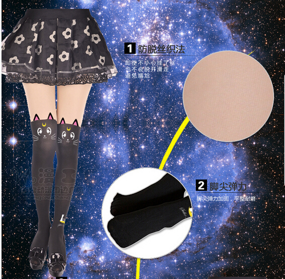 Sailor Moon cosplay costume Crystal Luna Kitty Cute Pantyhose Women Panty Stocking Tights ������ � ����������<br><br>