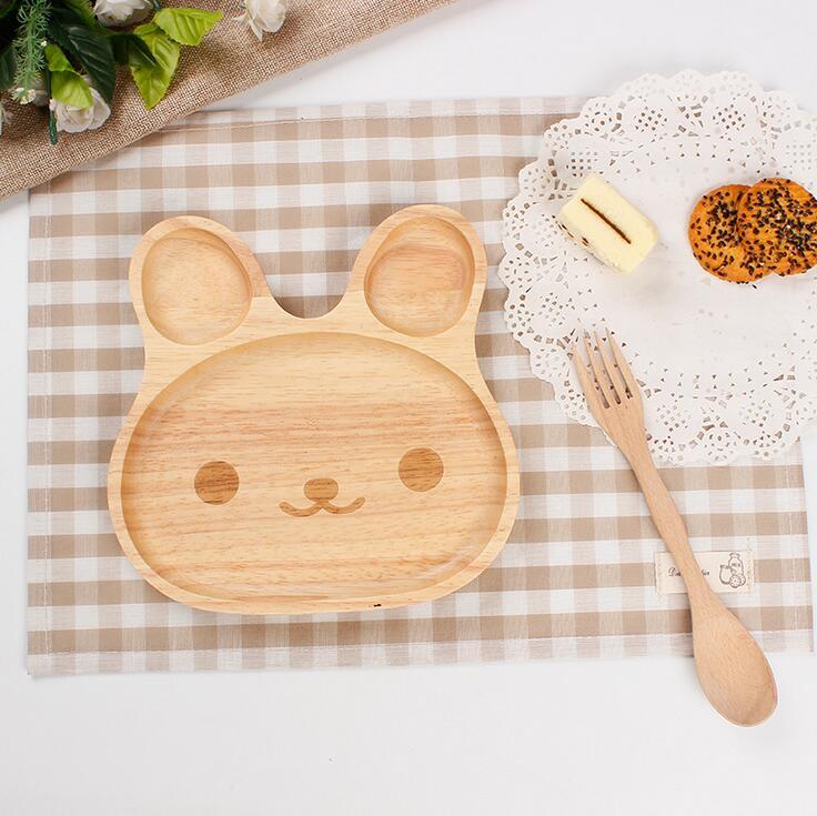 Cartoon Rabbit Shape Wooden Dinner Plate Bowl with Spoon Wood Bunny Design Baby Dinnerware Set Baby Feeding Service Plate N324(China (Mainland))