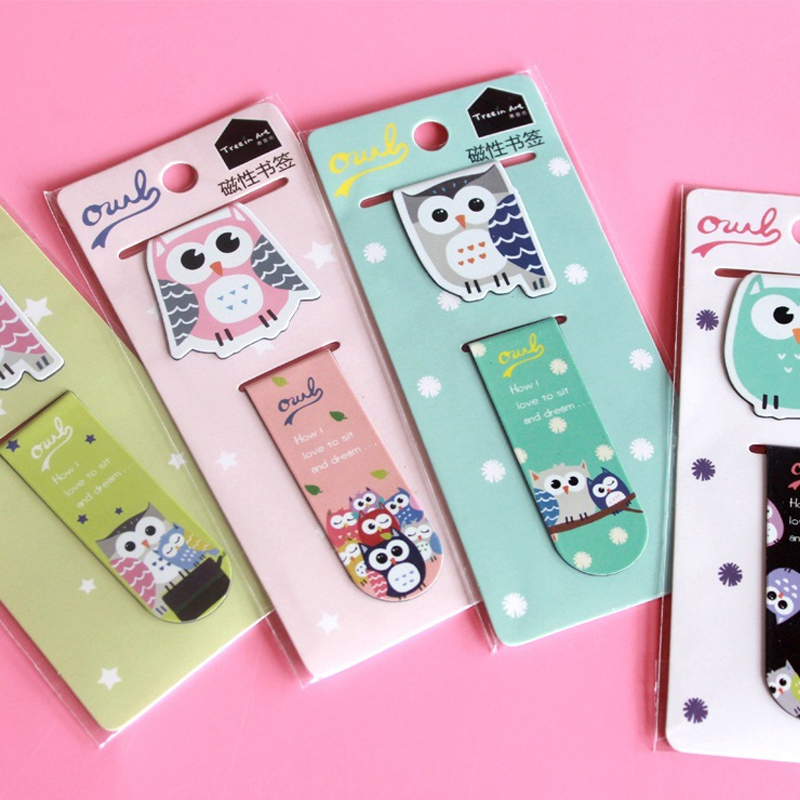 One Set Kawaii Students Reading Helper Owl Magnetic Bookmarks For Books Clip Cute Animal Line Marker Book Tab Stationery Gifts(China (Mainland))