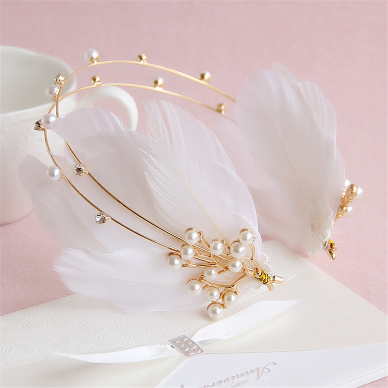 Bride Feather Tiara Headband Gold Wedding Flower Crown Hair Accessories Pearl Jewelry Tiaras Bijoux Cheveux Coroa Noiva WIGO0784(China (Mainland))