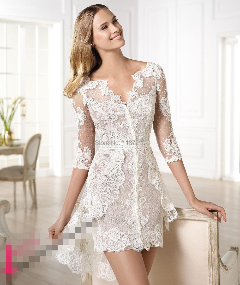 2015 Beautiful Sheer Lace Wedding Dresses V neck Short Mini Bridal Gowns Summer Beach Girls ...