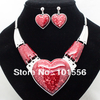 brand high quality classic chunky heart jewelry sets fashion wedding costume necklace and earrings sets for women  free shipping
