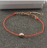 Star Same Style! Simple Red Rope Titanium Steel Rose Gold Plated Single Crystal bracelet, Free shipping