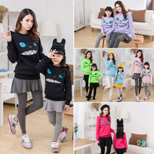 Winter Cartoon Zipper Mouth Smile Cat Shoulder 3D Ear Jumper Pullover Sweatshirt Family Fitted Children Adult Top 6Color(China (Mainland))