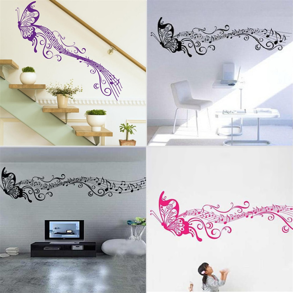 2015 Large Fashion Art Wall Sticker <font><b>Elegant</b></font> Cartoon Music Note Butterfly Removable DIY Art Vinyl Decal for <font><b>Home</b></font> <font><b>Decoration</b></font> New