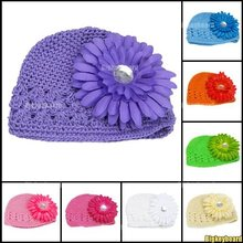 10x New Hot Baby Infant Toddler Hand Crochet Beanie Hat + Daisy Flower Clip Free Shipping(China (Mainland))