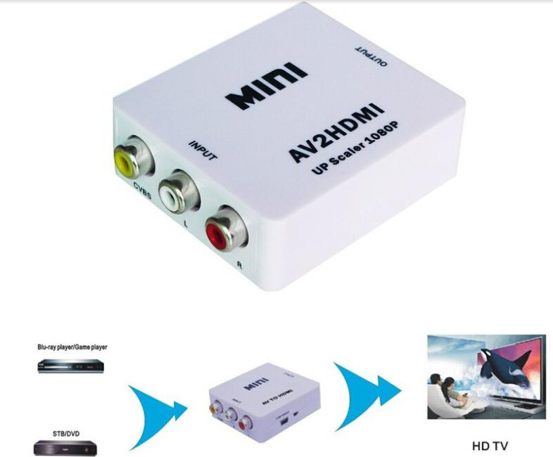 1080p AV to HDMI Converter Adapter box RCA to HDMI with USB Cable with retail package(China (Mainland))