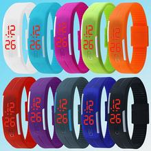 Hombre de silicona LED rojo se divierte la pulsera de reloj táctil reloj de pulsera Digital