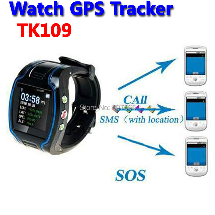 Watch Locator Phone GPS GSM SOS Tracker Telephone TK109 Wrist watch with Retail package(China (Mainland))