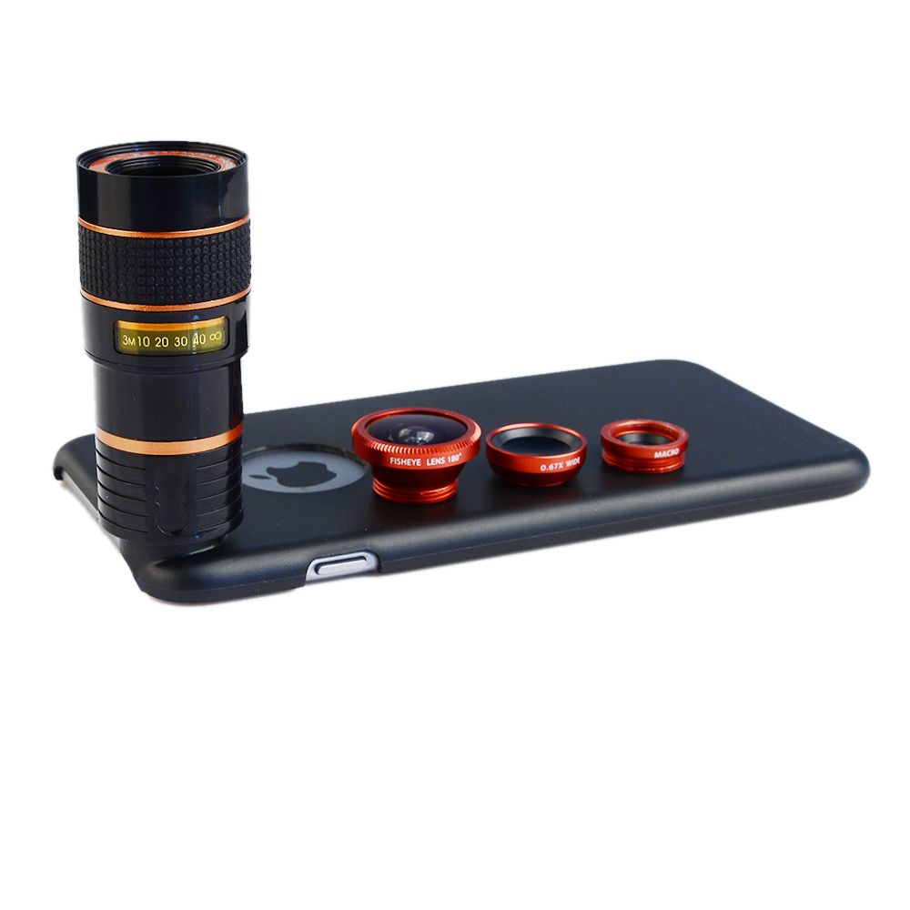 8X Telephoto Zoom <font><b>Lens</b></font> + Fisheye Fish Eye+ Wide Angle+ Macro Camera <font><b>Lens</b></font> Kit with case for apple iphone 6/6S <font><b>Mobile</b></font> <font><b>Phone</b></font> <font><b>Lenses</b></font>