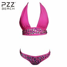 PZZ ПЛЯЖ элегантный алмаз бикини установить женщины холтер push up купальный костюм пляж sexy кристалл мягкий спинки Горный Хрусталь biquini