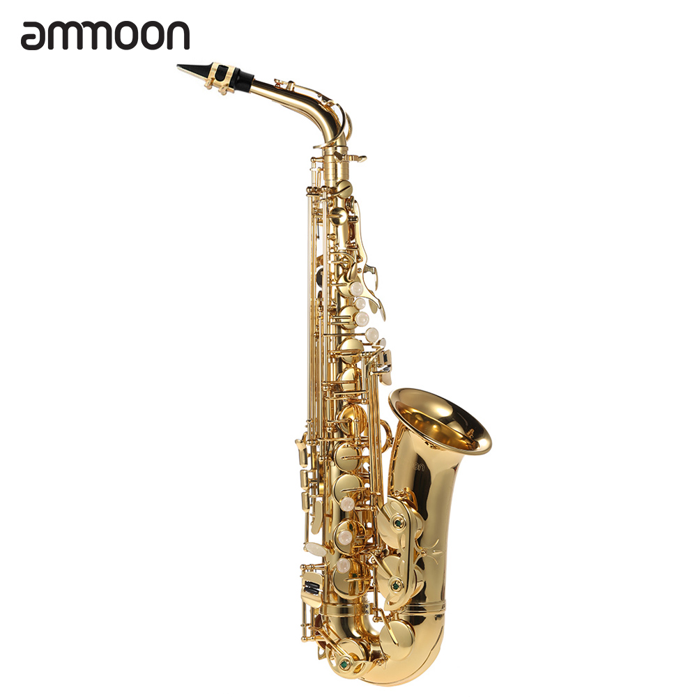 bE Alto Saxphone Brass Lacquered Gold E Flat Sax 802 Key Type with Cleaning Brush Cloth Gloves Cork Grease Strap Padded Case(China (Mainland))