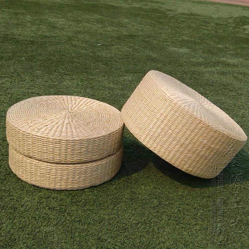 Japanese Style Straw Futon Cushion Handmade Round