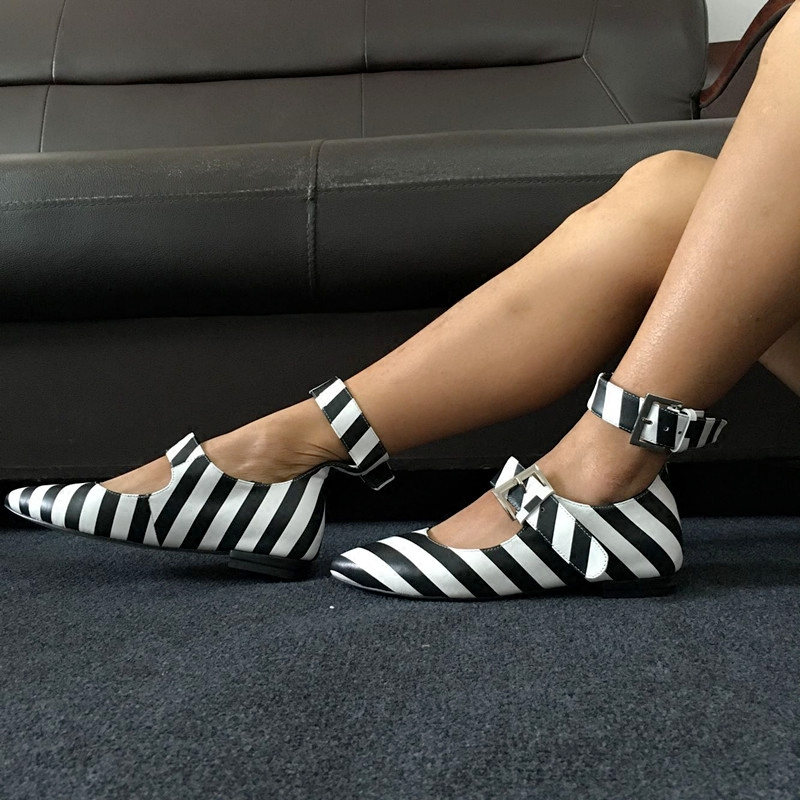 Charming Zebra Printed Ankle Strap Falt Shoes Ballerines Women Fashion Double Buckle Pointed Toe Satin Flats Casual Outfit Shoes(China (Mainland))