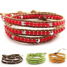 2016 New Women Vintage Style Weaving Leather Wrap Bracelet  Fashion jewelry Resin Turquoise Bead Bracelet Bangle pulseras mujer(China (Mainland))