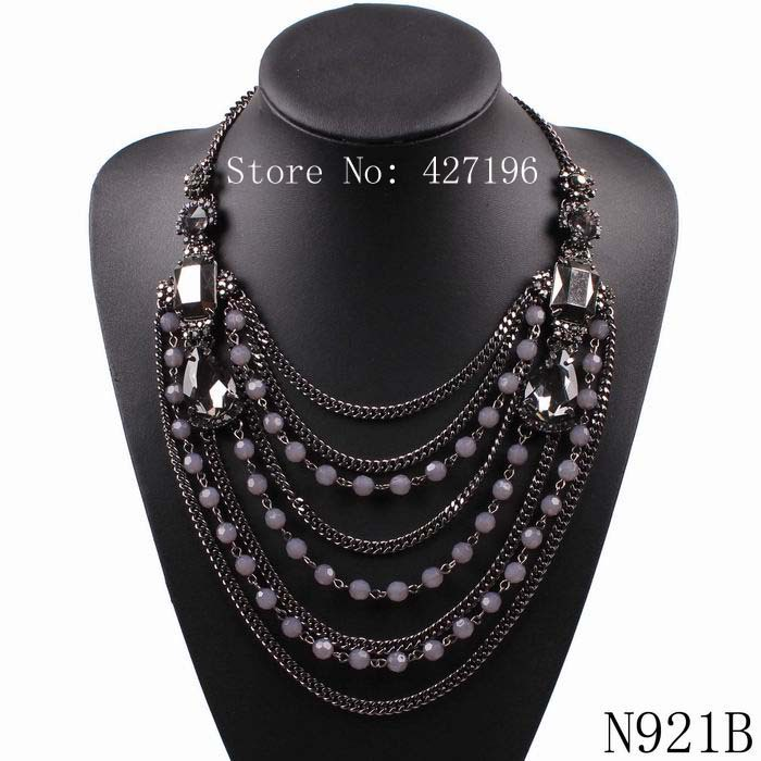 2016 new arrival design fashion brand long pendent necklace for women crystal bead statement chunky chain necklace jewelry gift(China (Mainland))