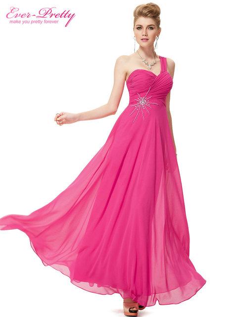 Бесплатная доставка 08077 элегантный одно плечо ярко розовый пром шифон горный хрусталь ...
