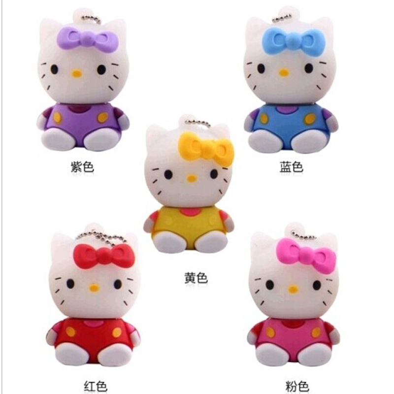 Hot sell hello kitty usb flash drive 8gb pen drive 16gb pendrive 32gb cartoon flash drive u disk flash card external storage(China (Mainland))