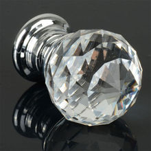 1pcs 30mm Diamond Crystal Glass Alloy Door Drawer Cabinet Wardrobe Pull Handle Knobs Drop Shipping Wholesale(China (Mainland))