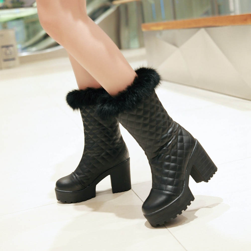 Original 2017 New Girls Winter Snow Boots High Wedges Boots Knee High Boots