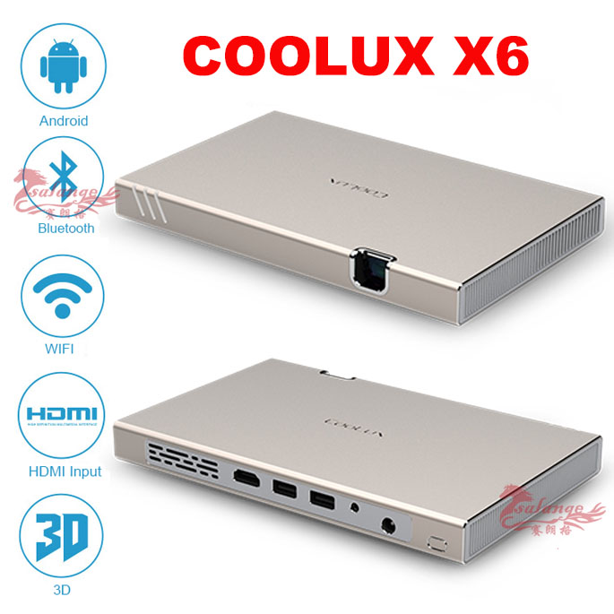 2016 mini portable dlp projector coolux x6 support 3d wifi bluetooth 4 0 hdmi input tf card for Small bluetooth projector
