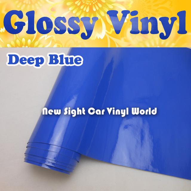 High Quality Deep Blue Gloss Vinyl Wrap Glossy Blue Vinyl Film Bubble Free Car Decals Car Stickers Size:1.52*30m/Roll