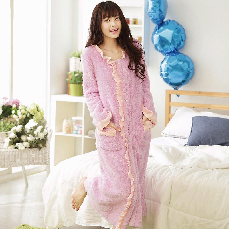 Women flannel ruffles turn-down collar nightdress,lady girl lavender pink court princess classic button nightgown M L SLMJ T8003(China (Mainland))
