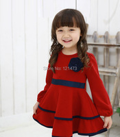 2015 Spring Kids Girls Flowers Dress Solid Color Full Sleeved Dress Cute Girl Printing Princess Dress Free Shipping