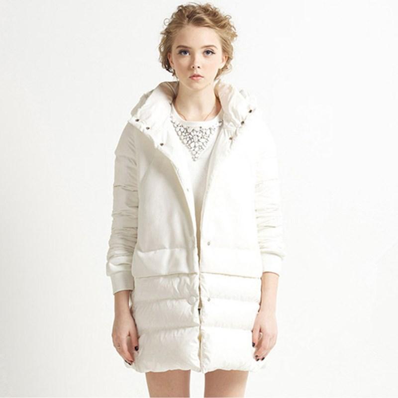 2015 Winter Korean High Grade White Duck Down Warm Fleece Hooded Jacket Long Slim minimalist Coat Parka manteau femme JY-1111