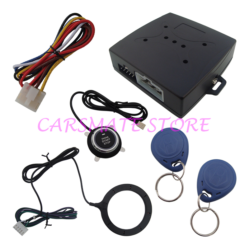 Stock In USA Smart RFID Car Alarm With Push Start/Stop Button And RFID Immobilizer System Car Engine Start Stop learning code(China (Mainland))