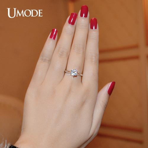 Umode женские обручальные кольца и кольца для помолвки с покрытием из белого золота и фианитами класса ааа 1к и круглыми брендовыми солитерами класса ааа+ ur0133