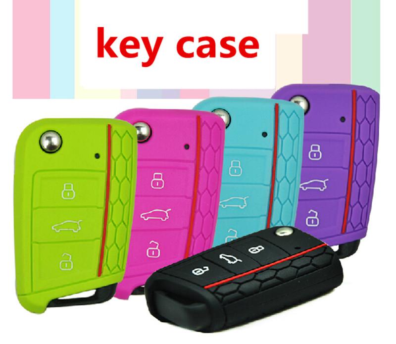 Car Accessories Key Case Key Bag Key Cover For Volkswagen VW Golf 7 mk7 Skoda Octavia A7 Silicone Key Portect Case1pc per set(China (Mainland))
