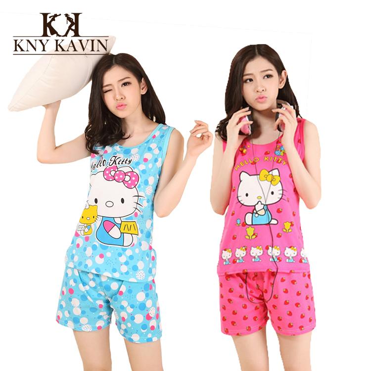 Hello Kitty Pijama Feminino For Women 2015 Summer Women Pajama Sets Girls Hello Kitty Cotton Sleepwear Sets Free Shipping WD2050(China (Mainland))